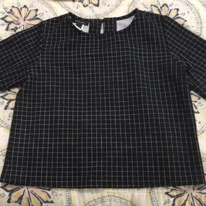 Tops - Black and white windowpane top
